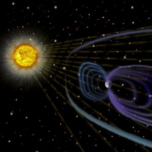 Picture of Sun and Earth's magnetosphere.